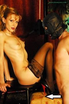 Karin von Kroft pictures: Mistress Dom Karin stockings feet tease and domination