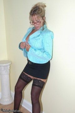 Amber at Home in black stockings pictures