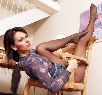 Katty in boots and pantyhose