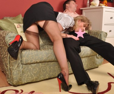Nylon Angel Lovette pictures: Blowjob and footjob in stockings and high heels