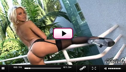 Art Lingerie Video: Beautiful blonde Jana Cova in black sheer stockings
