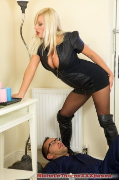 Michelle Thorne pictures: Pink lingerie and stockings & Michelle in pantyhose teasing a telecom guy
