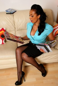 Just Danica Collins big tits milf in high heels, black nylons stockings and sexy lingerie