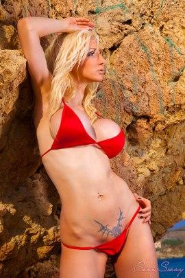 Susan Wayland posing in bikini