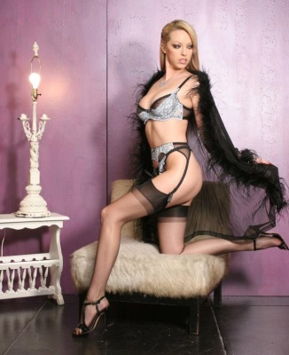 Blonde Emily Marilyn in nylons and lingerie
