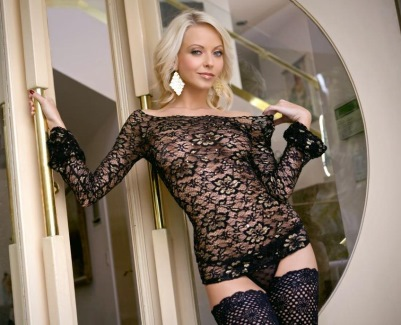 Jana Cova sexy blonde stockings model
