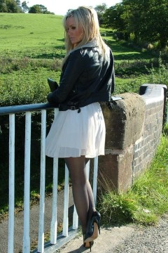 Erin in stiletto and pantyhose