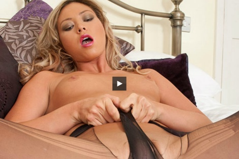 Beautiful UK girl blonde Natalia Forrest video - pantyhosed pussy tease