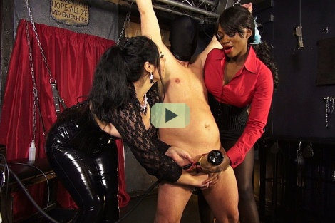 Mistress Ava Black milking machine ebony femdom lady in pantyhose