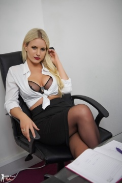 Billie Judd secretary in stockings