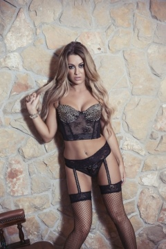 Harriette Taylor in fishnet stockings
