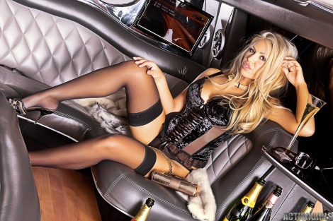 Luxurios lady in stockings teasing in limo