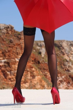 Long legs in black stockings and red heels - Lily Wow