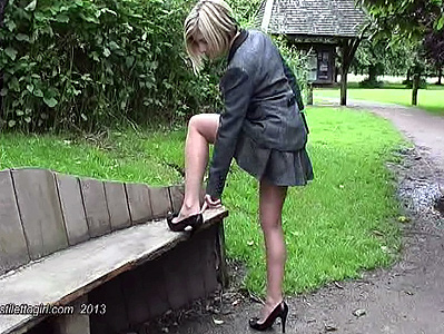 Blonde in stiletto high heels in public video