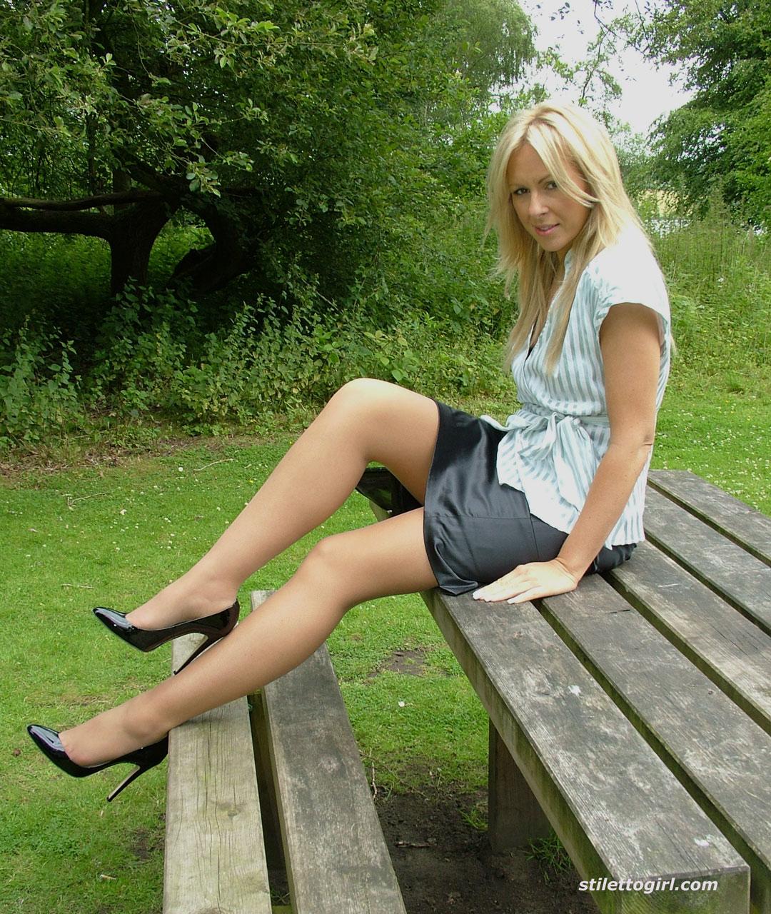 Hot in patterned pantyhose rochele