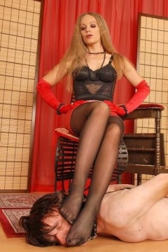 Black pantyhose feet domination