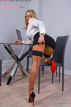 Tiffany Jaymes secretary in stockings