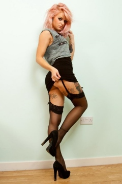 Rachael Lauren black stockings heels tattoo