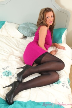 Becki H in black stockings worn over pantyhose by Layered Nylons
