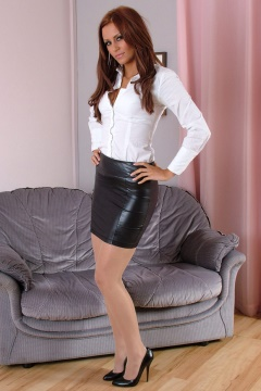 Leather miniskirt and shiny seamed stockings - Stiletto girl Erin