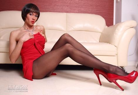 LilyWOW black pantyhose red high heels pics long legs milf