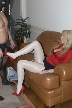 Mistress Alexis white pantyhose femdom footjob video Pantyhose Supremacy