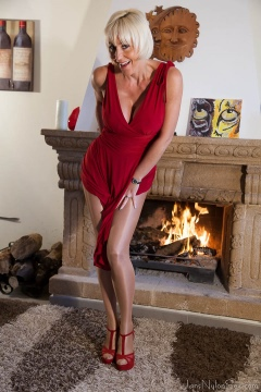 Jan Burton in sheer shiny pantyhose and red dress blonde mature with passion for nylon sex