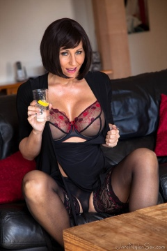 Jan Burton in black stockings and lingerie footfetish pics mature Jans Nylon Sex