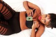 Busty ebony mistress Ava Black video: Sexy ripped pantyhose tease