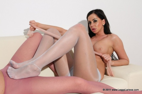 HD Lana strips stockings for footjob to a doctor Nylon Jane amateur blindfolded blowjob and cum on Redhead Nadja stocking footjob Lana cum on her legs.