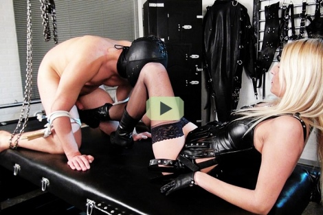 Mistress Natalie Black lady in lether testing new slave