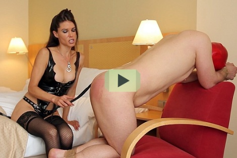 Mistress Susi spanking slave - kinky mistresses video