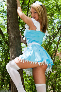 Nikki Sims sexy in white lingerie and blue dress outdoors