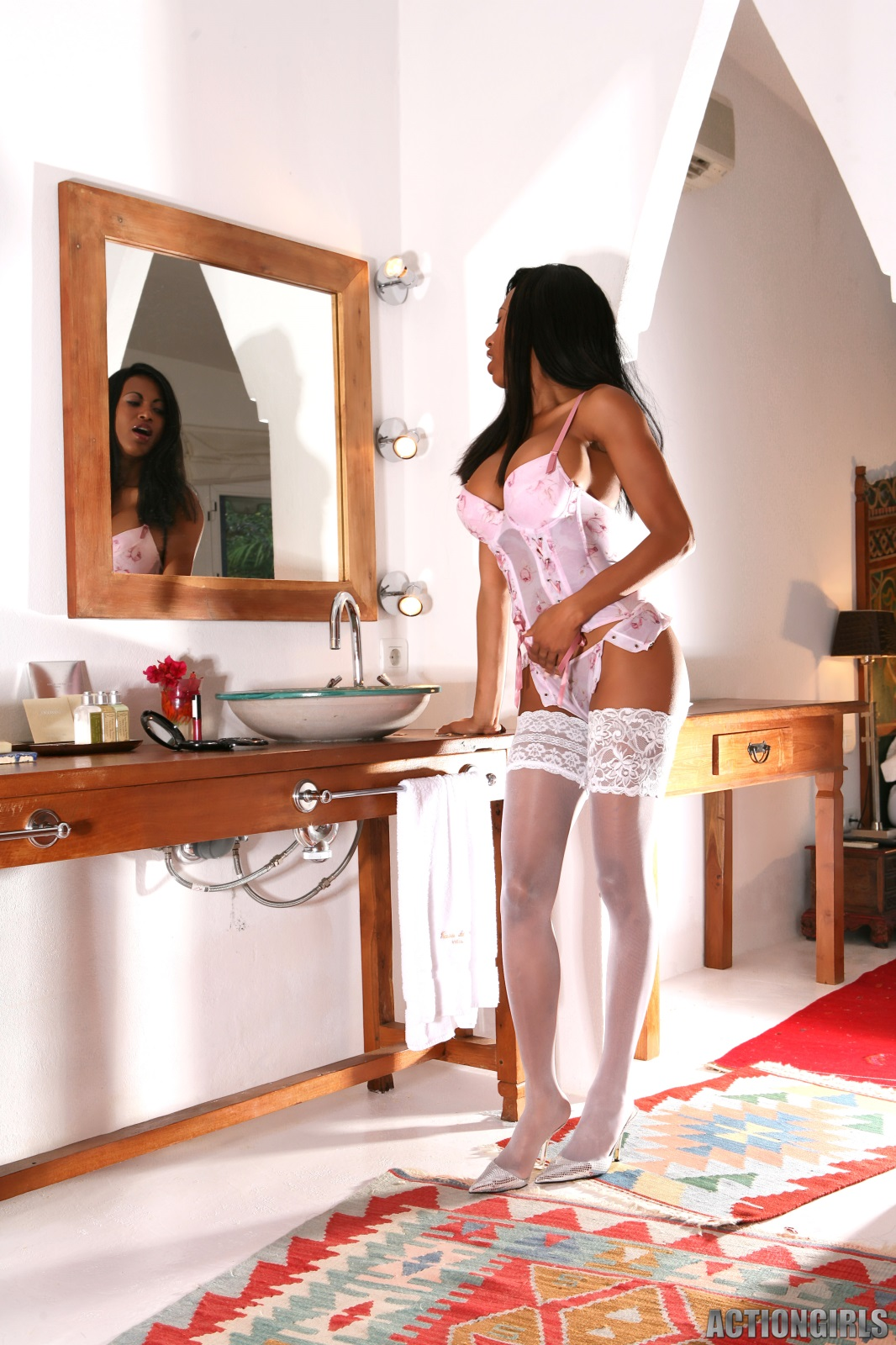 white stockings Sexy lingerie women in