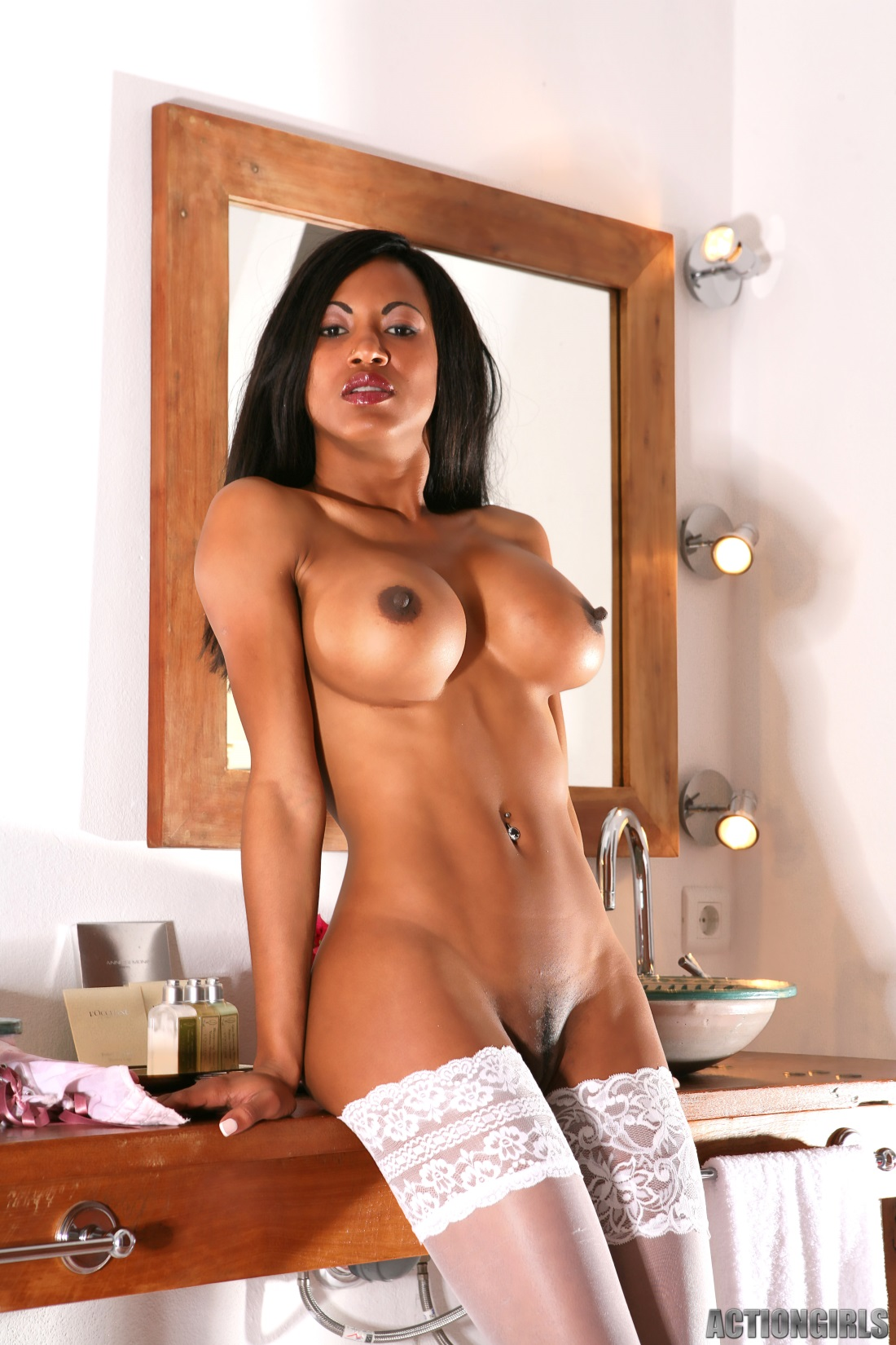 Ebony babes in stockings