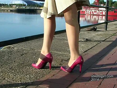 Stiletto girl sonia video pink heels and pantyhose walk outside outdoors