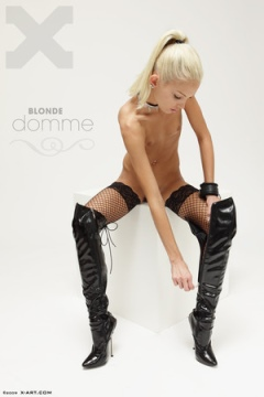 Tall blonde domme in boots and stockings - Francesca from X-Art