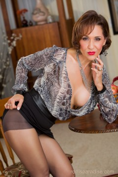 Roni from Ronis paradise in sexy blouse with short skirt and sheer pantyhose