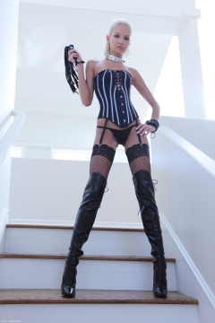 Tall girl Francesca in boots and stockings - Tall blone domme X-Art