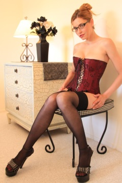 Alta Heels spectacled Jamie Lynn in corset stockings and high heels