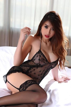 Farsai sexy asian babe in black lingerie and stockings