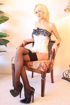 Alta Heels Claire Ryan stockings blonde in spiked heels
