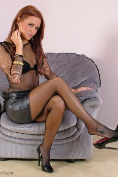 Beautiful Erin Stiletto Girl black pantyhose dangling heels