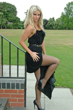 Stiletto girl Beautiful blonde Kathryn dressed in black and showing off her high heels