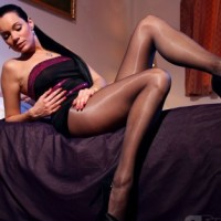 aPantyhose video: Leggy lady in black sheer pantyhose