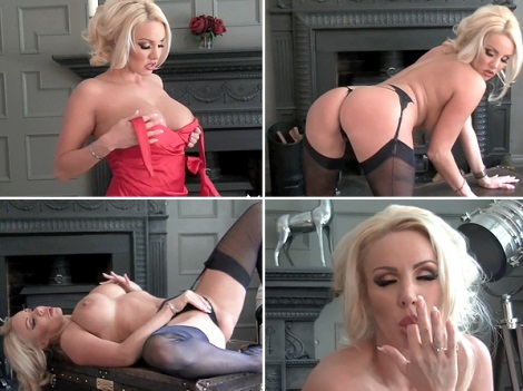 blonde-red-dress-black-stockings-dannii-harwood-video