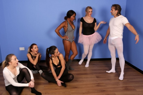 pantyhose ballet boner video Pure CFNM hard cock blowjob