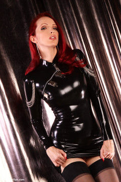 Tight latex dress, black stockings, shiny heels redhead Emily Marilyn