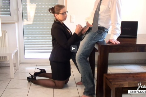Jess Legs video Sexy stockings secretary sucks new co-workers cock