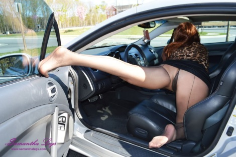 Nylon soles and pantyhose stockings feet pedal pumping Samantha Legs pictures